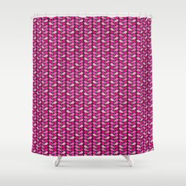 Mid Century Danish Leaves, Fuchsia Pink and Gray Shower Curtain