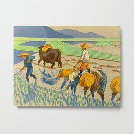 Asano Takeji Rice Transplantation Vintage Japanese Woodblock Print Asian Farmers Sedge Hat Metal Print