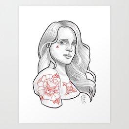 Skateboarding Girl #3 Art Print