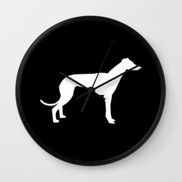 Greyhound square black and white minimal dog silhouette dog breed pattern Wall Clock