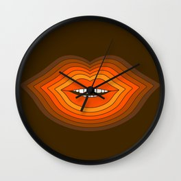 Pop Lips - Golden Wall Clock