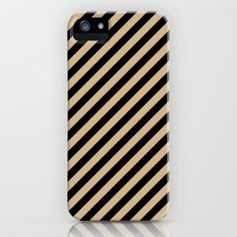 Tan Brown and Black Diagonal RTL Stripes iPhone Case