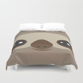 funny and cute smiling Three-toed sloth on brown background Duvet Cover