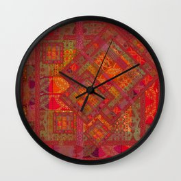 Rose vintage textile patches 02 Wall Clock