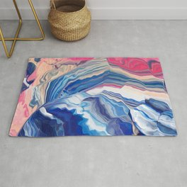 The wave with pink trails Rug