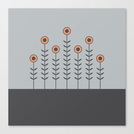 Spring Shoots (Charcoal Black, Dove Grey, Peach Rose) Canvas Print