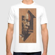 One up One Down SMALL White Mens Fitted Tee