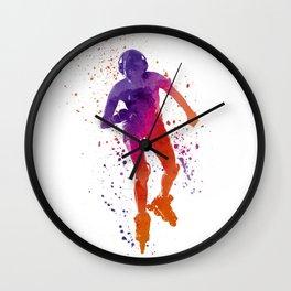 Woman in roller skates 01 in watercolor Wall Clock