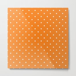 Small White Polka Dots with Orange Background Metal Print