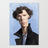 cumberbatch Canvas Prints featuring Sherlock/Cumberbatch by Sri Priyatham