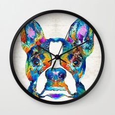 Colorful Boston Terrier Dog Pop Art - Sharon Cummings Wall Clock
