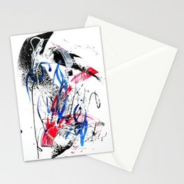 Abstract expressionist painting. Brush marks and lines. Stationery Cards