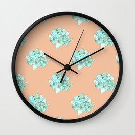 Hydrangea Wallpaper Pattern in Coral Wall Clock