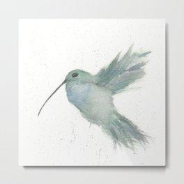 Hummingbird In Flight Watercolor Metal Print