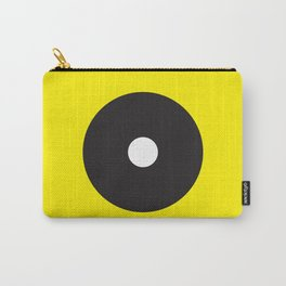 White dot on black on yellow Carry-All Pouch