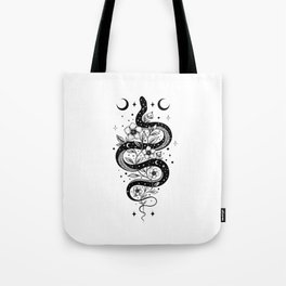 Serpent Spell -Black and White Tote Bag