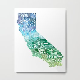 Typographic California - Cool Metal Print