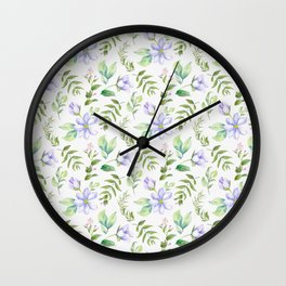 Watercolor lavender lilac green hand painted floral Wall Clock