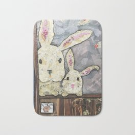 May we come in?   Bunny Invitation Bath Mat