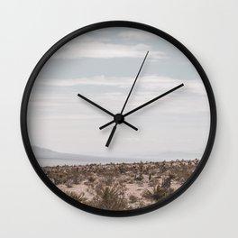 Blue Mountain Mojave // Vintage Desert Landscape Cactus Plants Nature Scenery Photograph Decor Wall Clock