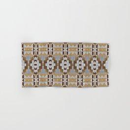 Brown Taupe Tan Gray Native American Indian Mosaic Pattern Hand & Bath Towel