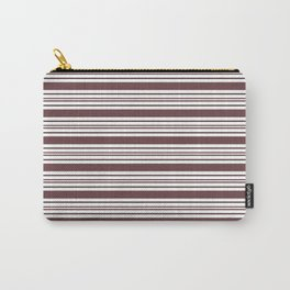 Pantone Red Pear & White Thick and Thin Horizontal Lines Bold Stripe Pattern Carry-All Pouch