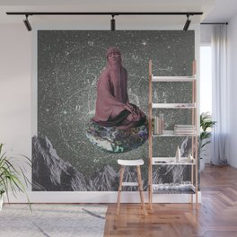 the seeker - a woman suspended in the void on an abalone Wall Mural
