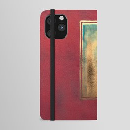 Deep Red, Gold, Turquoise Blue iPhone Wallet Case