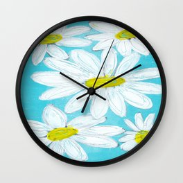 DAISIES AGAINST BLUE SKY Wall Clock
