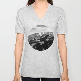 Black and White Mountains Unisex V-Neck