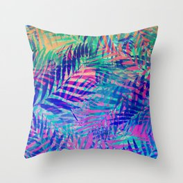 Colorful abstract palm leaves 2 Throw Pillow