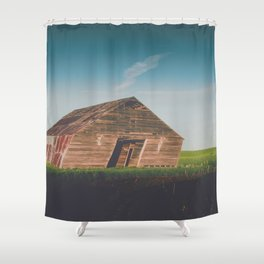 Long Shadows Leaning Barns Shower Curtain