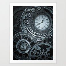 Silver Steampunk Clockwork Art Print
