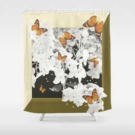 Hydrangea And Butterflies in Frame #decor #society6 Shower Curtain