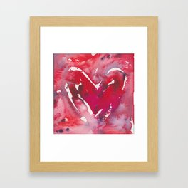 """Red Heart Love"" Red Pink & Magenta Valentine Ombre Heart Original Watercolor by Doreen Koch Allen Framed Art Print"