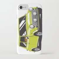 mini cooper iPhone & iPod Cases featuring Mini Cooper Car - Chartreuse by C Barrett