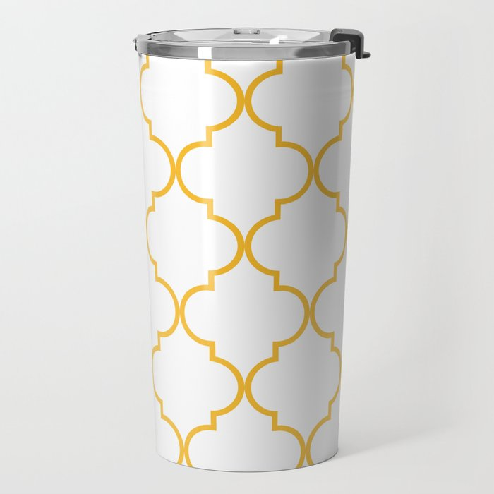 Quatrefoil - Butterscotch yellow Travel Mug