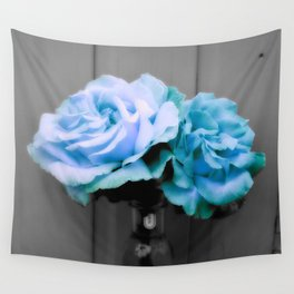 fLoWers Aqua Blue Pop of Color Wall Tapestry