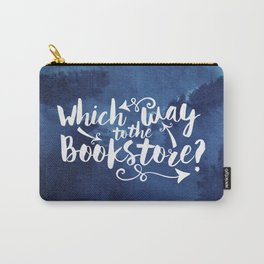 Which Way to the Bookstore? + All Blue Carry-All Pouch