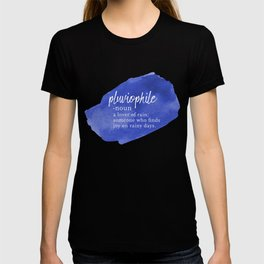 Pluviophile - Word Nerd Definition - Blue Watercolor T-shirt