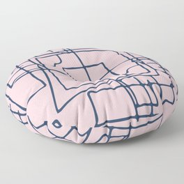 Decorative pink and blue abstract squares Floor Pillow