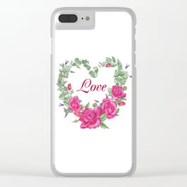 Floral wreath with rose and leaves in heart form Clear iPhone Case