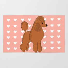 Red Apricot Poodle with Peach Pink & Hearts Rug
