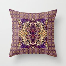 Midwestern Autumn, Foliage, Dry Plants, Purple Nature Pattern Throw Pillow
