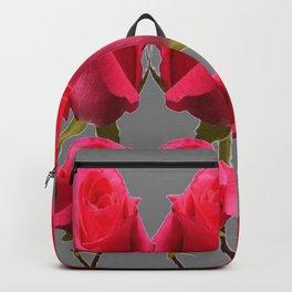 SEVEN PINK BUD ROSES ON GREY COLOR Backpack