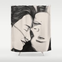 fault in our stars Shower Curtains featuring The Fault in Our Stars by Eleanor Illustrates