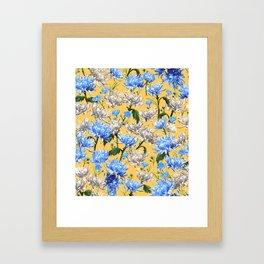 Mums Pattern     Yellow-Blue-Cream-White Framed Art Print