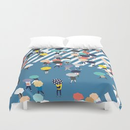 Crossing The Street On a Rainy Day - Blue Duvet Cover
