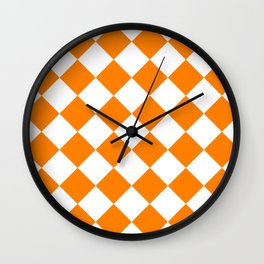 Large Diamonds - White and Orange Wall Clock