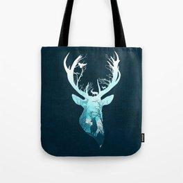 Deer Blue Winter Tote Bag